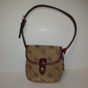 Dooney & Bourke Small Beige and Tan Canvas Handbag